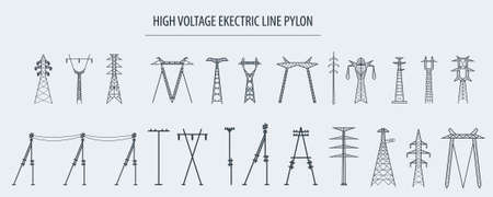 High voltage electric line pylon. Icon set suitable for creating infographics. web site content etc. Vector illustration Vettoriali