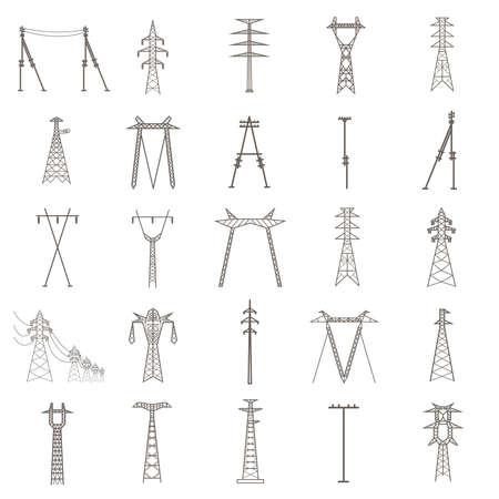 Elektrische Hochspannungsmasten. Icon-Set passend für Infografiken zu erstellen. Web site Inhalt usw. Vektor-Illustration