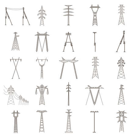High voltage electric line pylon. Icon set suitable for creating infographics. web site content etc. Vector illustration Stock Illustratie