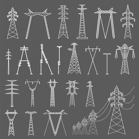 transmission: High voltage electric line pylon. Icon set suitable for creating infographics. web site content etc. Vector illustration Illustration
