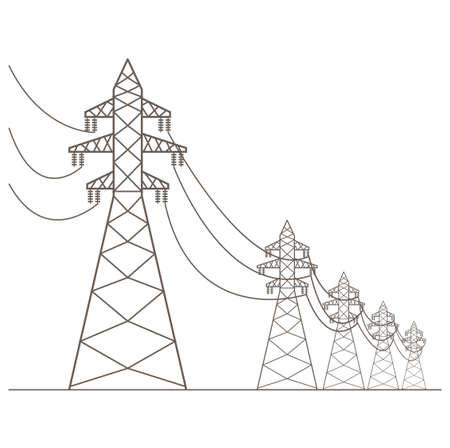 powerlines: High voltage electric line pylon. Icon set suitable for creating infographics. web site content etc. Vector illustration Illustration