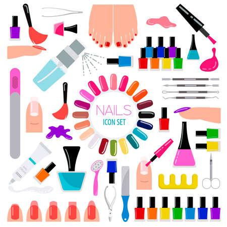 Manicure, nail salon. Icon set. Vector illustration