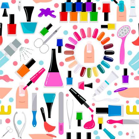 Manicure, nail salon. Seamless pattern. Vector illustration