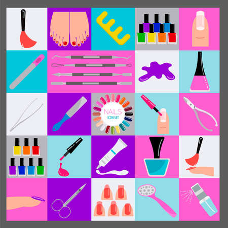 nail salon: Manicure, nail salon. Icon set. Vector illustration