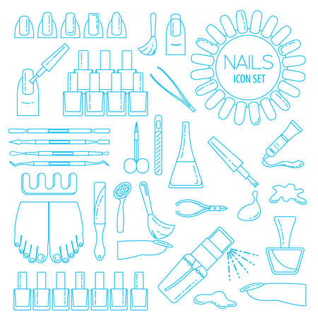 nail salon: Manicure, nail salon. Icon set. Thin line design. Vector illustration