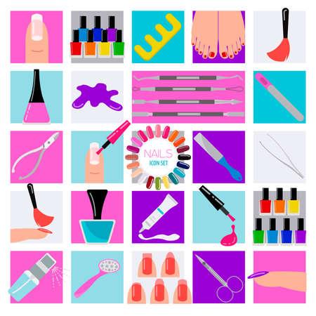 french manicure: Manicure, nail salon. Icon set. Vector illustration