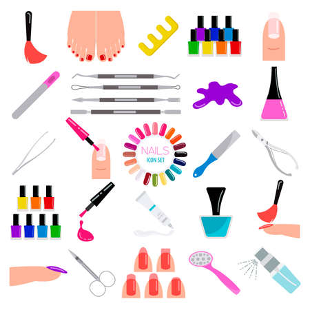french manicure: Manicure, nail salon. Icon set. Vector illustration