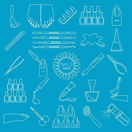 french manicure: Manicure, nail salon. Icon set. Thin line design. Vector illustration