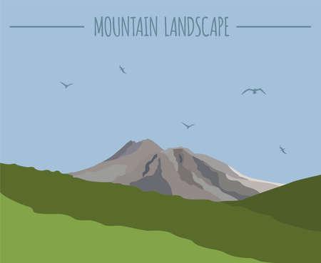 carribean: Mountain landscape graphic template. Vector illustration