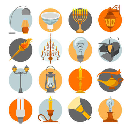 electric torch: Lighting elements icon set. Vector illustration