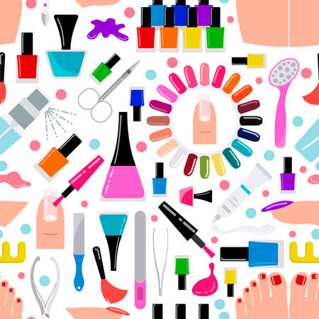 nail salon: Manicure, nail salon. Seamless pattern. Vector illustration