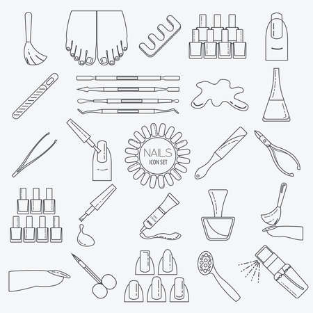 french manicure: Manicure, nail salon. Icon set. Thin line design. Vector illustration