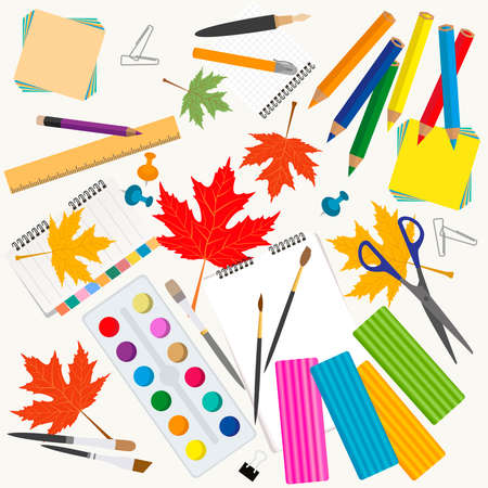 Back to school. Stationary graphic template. Vector illustration Illustration