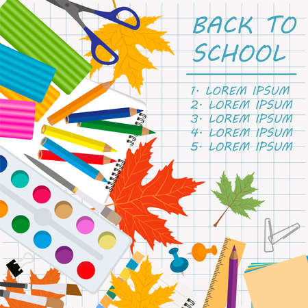 rucksack: Back to school. Stationary graphic template. Vector illustration Illustration