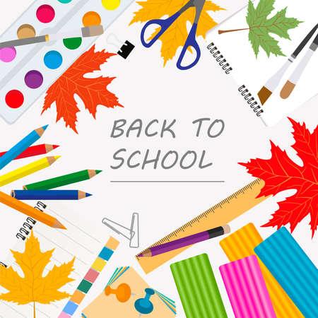 Back to school. Stationary graphic template. Vector illustration Ilustração Vetorial