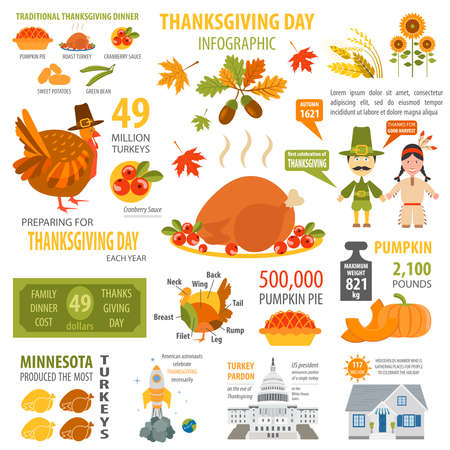 is interesting: Thanksgiving day, interesting facts in infographic. Graphic template. Vector illustration