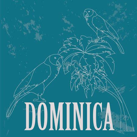 amazon: Dominica national symbols. Sisseru parrot, Imperial amazon. Retro styled image. Vector illustration Illustration