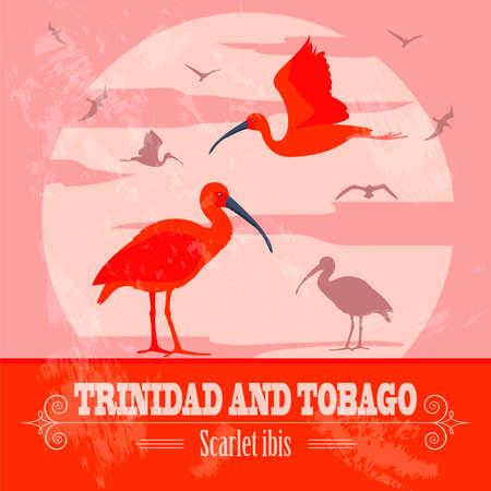 Trinidad and Tobago national symbols. Scarlet (red) ibis. Retro styled image. Vector illustration