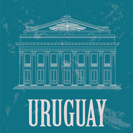 montevideo: Uruguay landmarks. Theater Solis, Montevideo. Retro styled image. Vector illustration