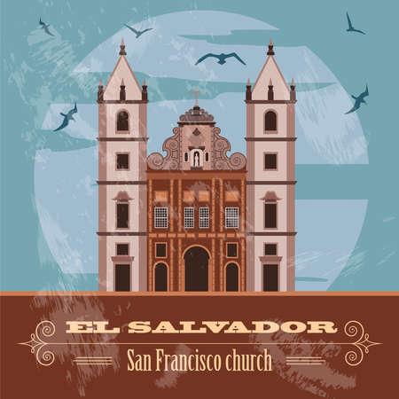 El Salvador landmarks. San Francisco church. Retro styled image. Vector illustration