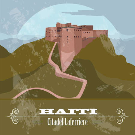 haiti: Haiti landmarks. Citadel Laferriere. Retro styled image. Vector illustration