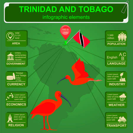Trinidad and Tobago infographics, statistical data, sights. Scarlet (red) ibis, national symbol. Vector illustration