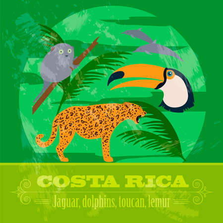 Costa Rica national symbols. Dolphins, jaguar, toucan, lemur. Retro styled image. Vector illustration