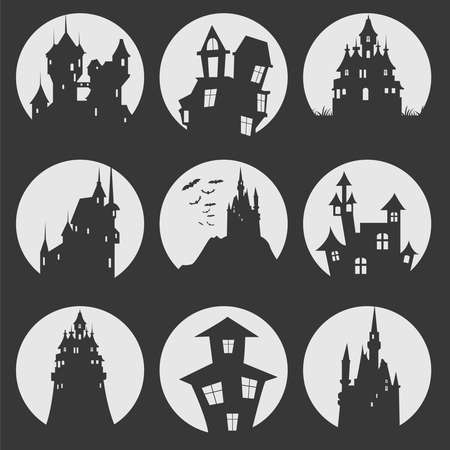 misterious: Misterious house in the dark night. Halloween holiday. Flat icons. Vector illustration