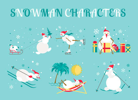 scarf beach: Snowman characters icon set. Flat design. Vector illustration Illustration