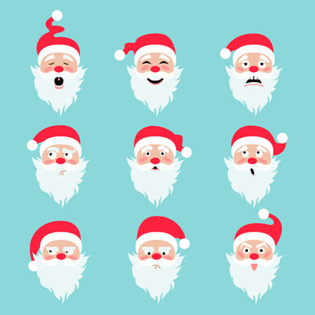 Santa Claus character. Emotions icon set. Merry Christmas. Vector illustration Illustration