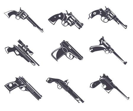Firearm set. Guns, pistols, revolvers. Flat design. Vector illustration