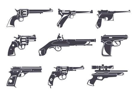 dueling: Firearm set. Guns, pistols, revolvers. Flat design. Vector illustration