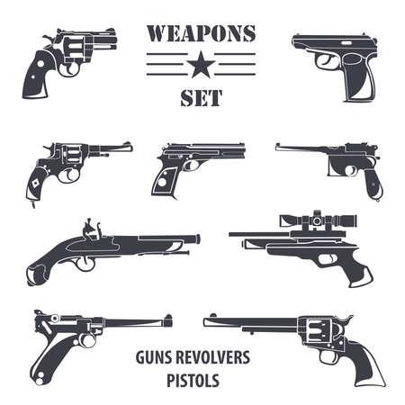 flintlock pistol: Firearm set. Guns, pistols, revolvers. Flat design. Vector illustration
