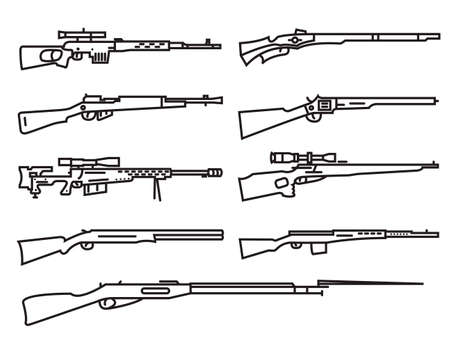 carbine: Firearm set. Gun, rifle, carbine. Flat design. Outline linear version. Vector illustration