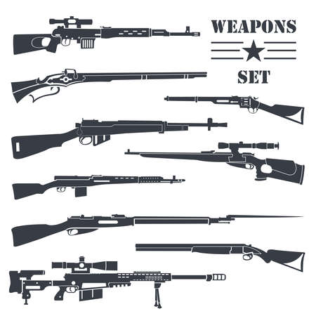 Firearm set. Gun, rifle, carbine. Flat design. Vector illustration
