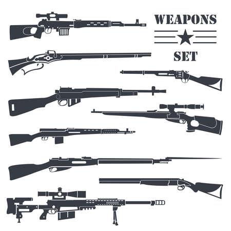 Firearm set. Gun, rifle, carbine. Flat design. Vector illustration