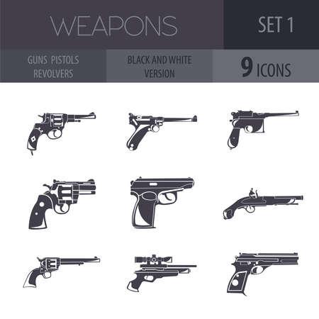 pm: Firearm set. Guns, pistols, revolvers. Flat design. Vector illustration