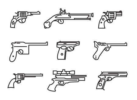 flintlock: Firearm set. Guns, pistols, revolvers. Flat design. Outline linear version. Vector illustration
