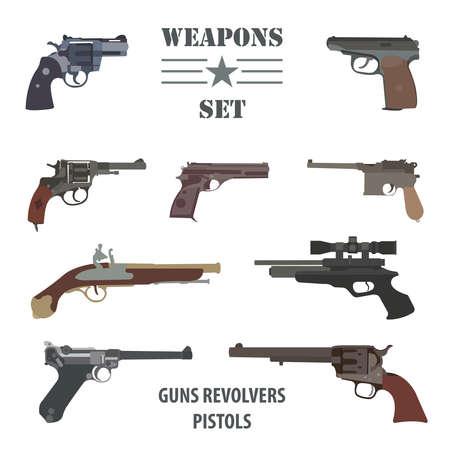 flintlock: Firearm set. Guns, pistols, revolvers. Flat design. Vector illustration
