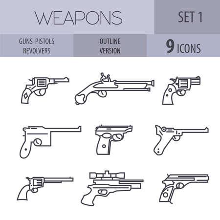 pm: Firearm set. Guns, pistols, revolvers. Flat design. Outline linear version. Vector illustration