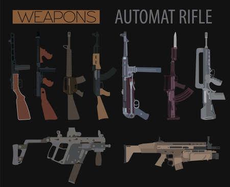 tommy: Firearm set. Automatic rifle, machine gun. Flat design. Vector illustration Illustration