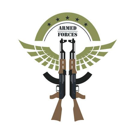 Firearm template. Guns, rifles badge. Flat design. Vector illustration Illustration