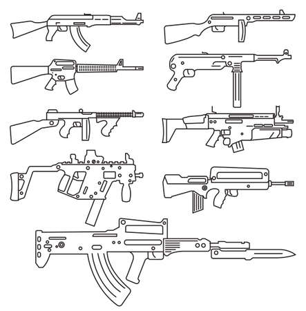 tommy: Firearm set. Automatic rifle, machine gun. Outline linear version. Vector illustration