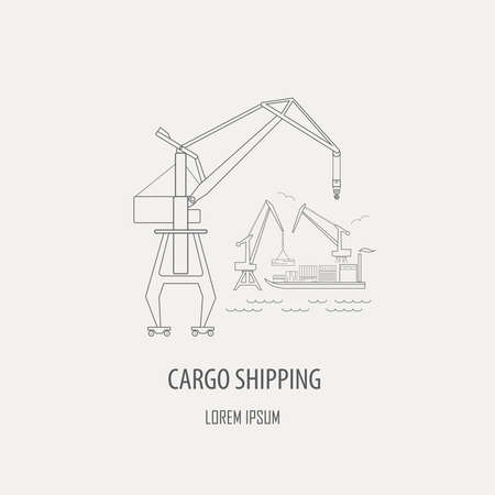 simple logo: Crane and lifting machine logo and badge template Outline simple version. Vector illustration Illustration