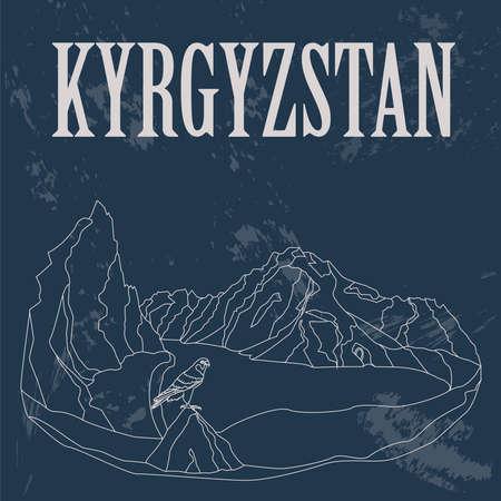 merlin falcon: Kyrgyzstan. Retro styled image. Vector illustration