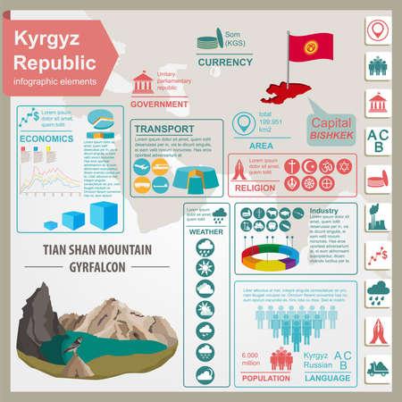 merlin falcon: Kyrgyzstan infographics, statistical data, sights. Vector illustration