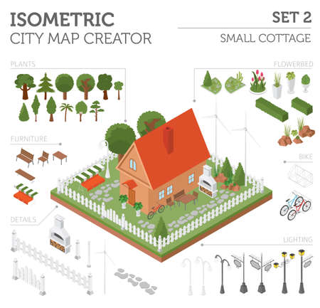 garden furniture: Flat 3d isometric house and city map constructor elements such as building, bbq, garden, nature isolated on white. Build your own infographics collection. Vector illustration Illustration