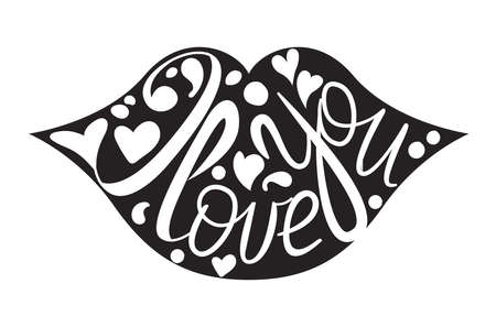Happy Valentine`s day hand drawn lettering. I love you calligraphy, greeting card template isolated on white. Vector illustration