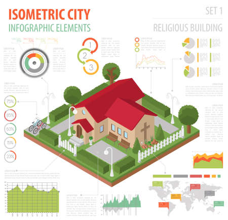 Religious architecture. Flat 3d isometric church and city map creator elements such as building, park, transport, nature isolated on white. Build your own infographics collection. Vector illustration