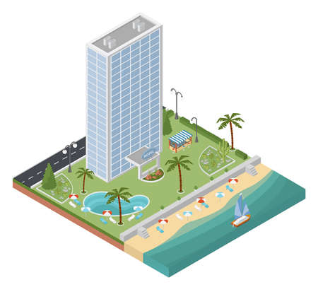 recliner: Flat 3d isometric resort hotel  and city map constructor elements such as building, beach, swimming pool, garden, bar, nature isolated on white.